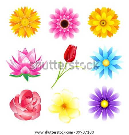 illustration of set of colorful flower on isolated background - stock vector