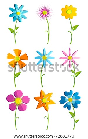 illustration of set of colorful flowers on isolated background - stock vector