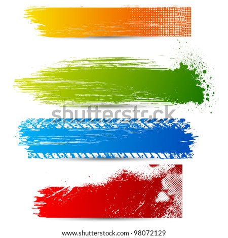 illustration of set of colorful grungy banner - stock vector