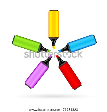 illustration of set of colorful marker on white background - stock vector