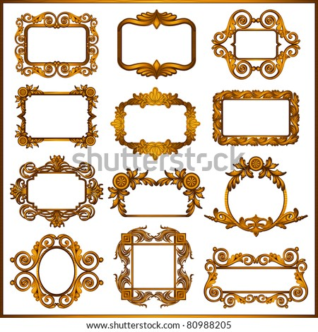 illustration of set of decorative wooden frame - stock vector