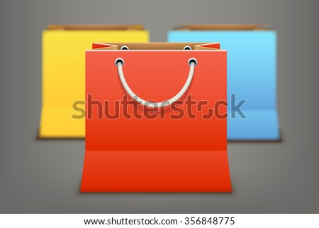 illustration of set of different color shopping bags with reflection