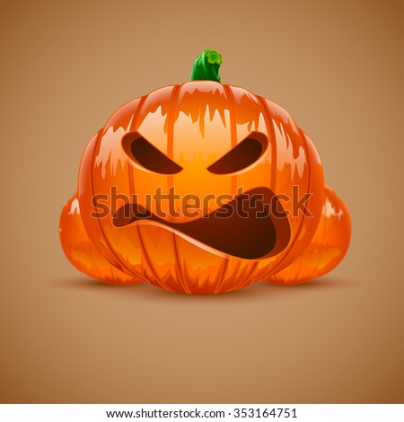 Illustration of set of different Halloween pumpkings on one screen with reflection - stock vector