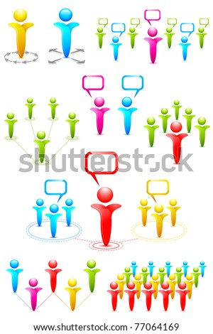illustration of set of different pattern of networking with human icon - stock vector