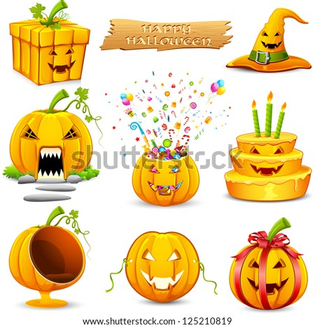 illustration of set of different pumpkin object for Halloween - stock vector