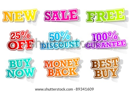 illustration of set of different selling sticker in different color - stock vector