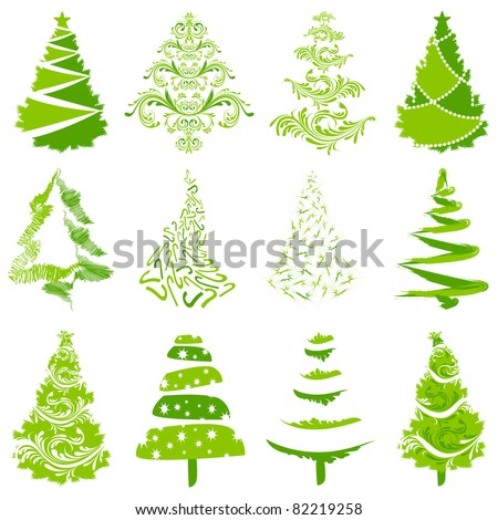 illustration of set of different style christmas tree - stock vector