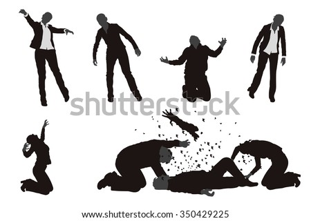 illustration of set of different zombies in various poses - stock vector