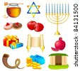 illustration of set of element for hanukkah and chanukah - stock photo