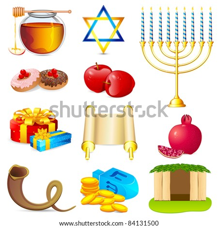 illustration of set of element for hanukkah and chanukah - stock vector
