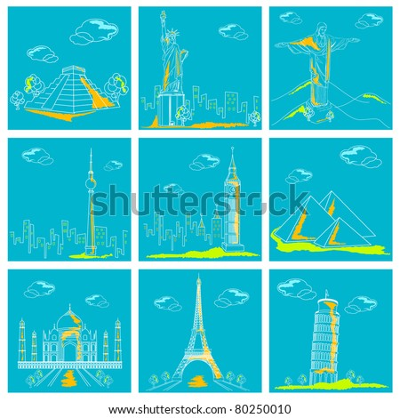 illustration of set of famous monument around the world - stock vector