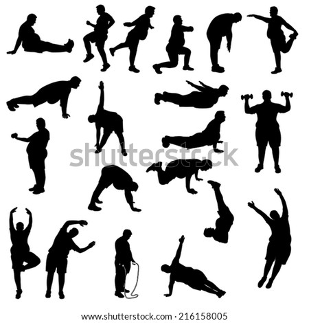 illustration of set of fat man which are working out - stock vector