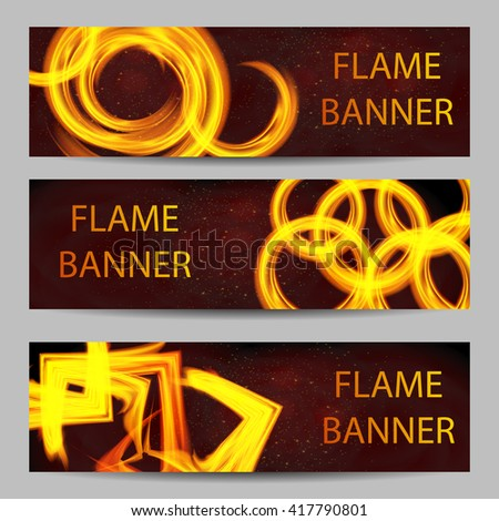 illustration of set of fire flame banner - stock vector