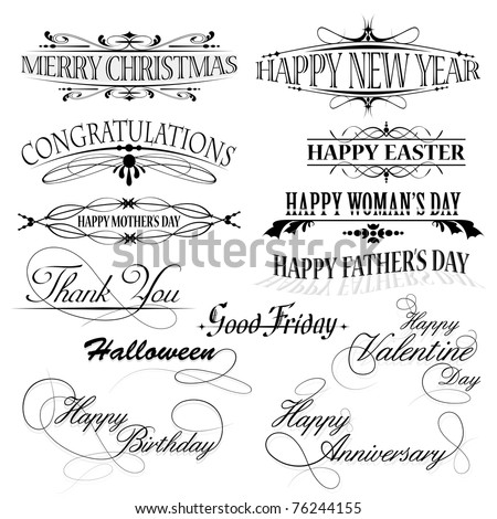 illustration of set of floral design for different holidays - stock vector