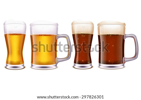 illustration of set of glasses with different type of beer and type of glasses - stock vector