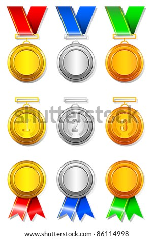 illustration of set of gold,silver and bronze medal on isolated background - stock vector