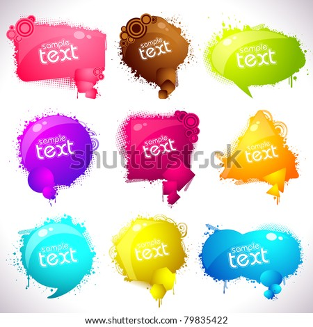 illustration of set of grungy speech bubble on abstract background - stock vector