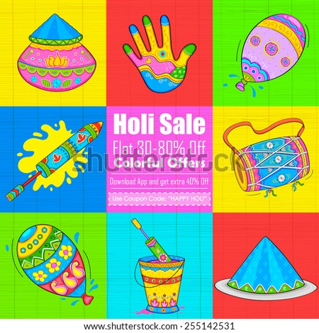 illustration of set of Holi element in Indian kitsch style - stock vector