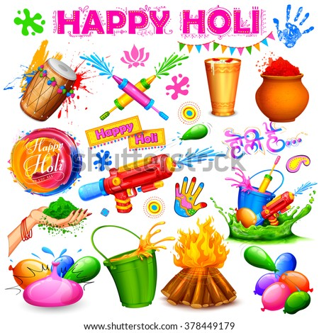 illustration of set of Holi element with colors and message in Hindi Holi Hain meaning Its Holi - stock vector