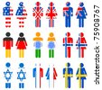 illustration of set of human icon for different nations on isolated background - stock vector