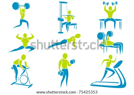 illustration of set of icon showing different gym activity - stock vector