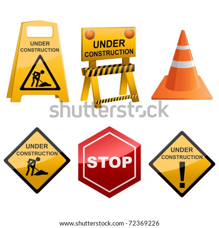 illustration of set of icon sign for under construction on white background
