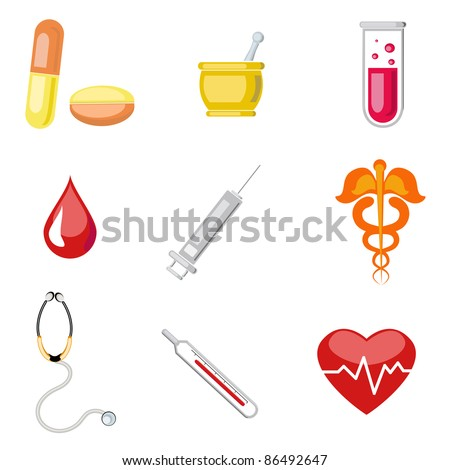 illustration of set of medical icon on plane white background - stock vector