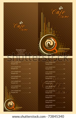 illustration of set of menu card template for cafe - stock vector