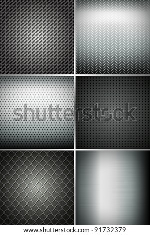 illustration of set of metal texture background