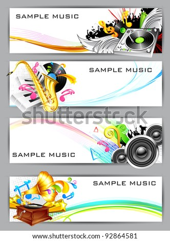 illustration of set of musical banner with instrument - stock vector