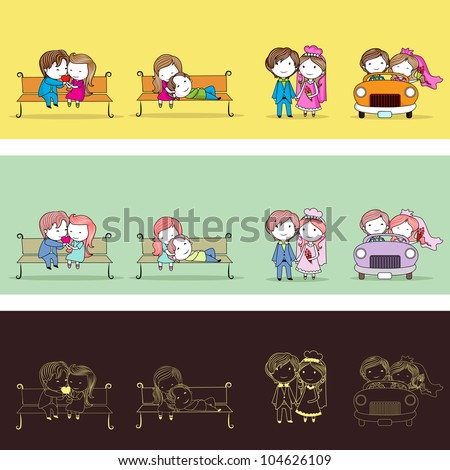 illustration of set of newly wed couple in different style - stock vector