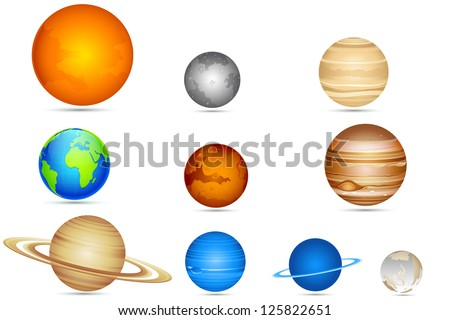 illustration of set of planets with sun and moon - stock vector
