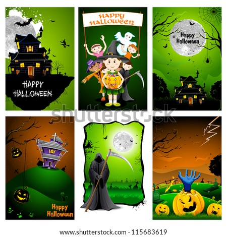 illustration of set of poster for Halloween celebration - stock vector