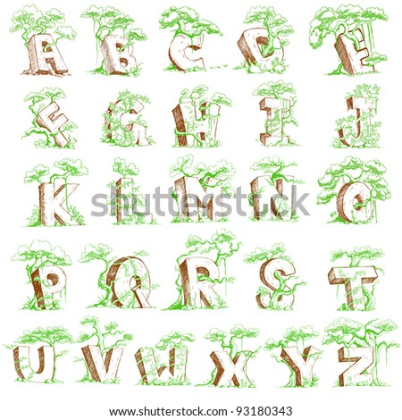 illustration of set of rocky alphabet with tree - stock vector