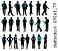 illustration of set of silhouette of business people on isolated background - stock photo