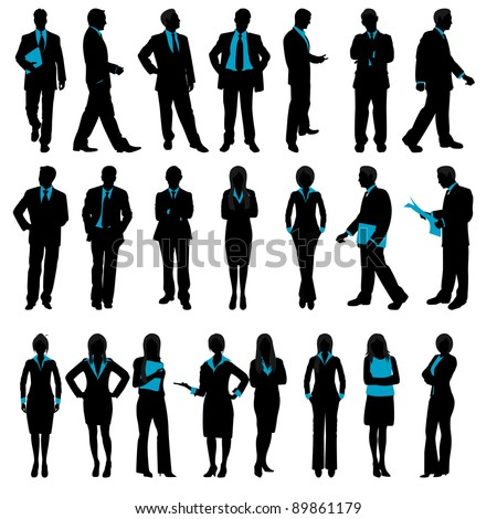 illustration of set of silhouette of business people on isolated background