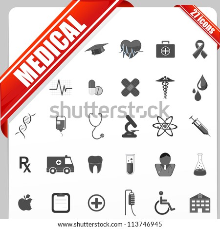 illustration of set of simple medical icon set - stock vector