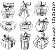 illustration of set of sketch for hand drawn gift box - stock vector