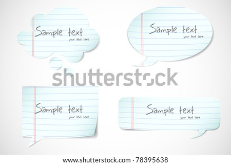 illustration of set of speech bubble made of paper cutting - stock vector