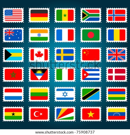 illustration of set of stamp for different countries - stock vector