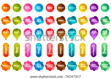 illustration of set of various selling icon on isolated background - stock vector