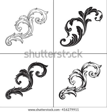 Illustration of set of vintage design elements. Baroque vector. Premium quality. Baroque ornament. - stock vector