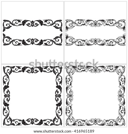 Vintage scroll frame stock images royalty free images for Baroque design elements