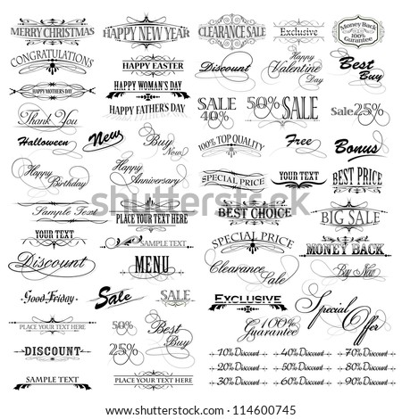 illustration of set of vintage design elements for celebration - stock vector