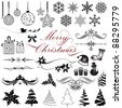illustration of set of vintage design elements for christmas - stock vector