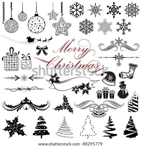 illustration of set of vintage design elements for christmas - stock vector
