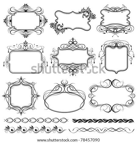 illustration of set of vintage design elements for frame - stock vector