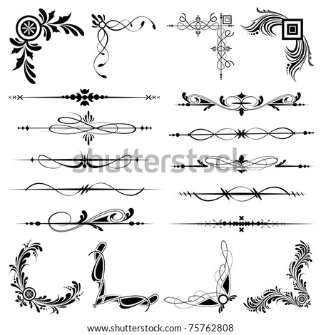 illustration of set of vintage design elements for frames - stock vector