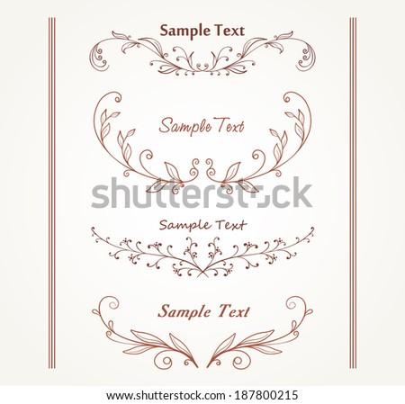 illustration of set of vintage design elements for page border - stock vector