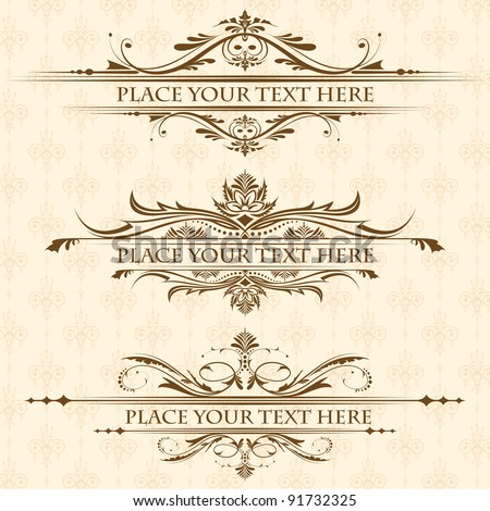 illustration of set of vintage design elements for page border - stock vector